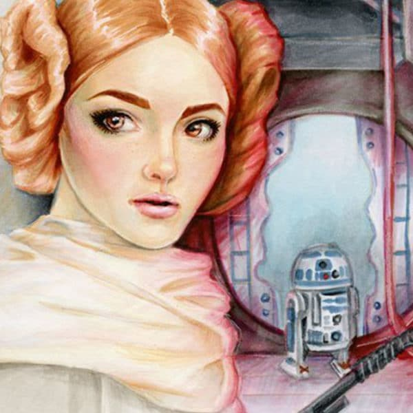 Star Wars Fan Art of Princess Leia hiding the Death Star plans in R2D2