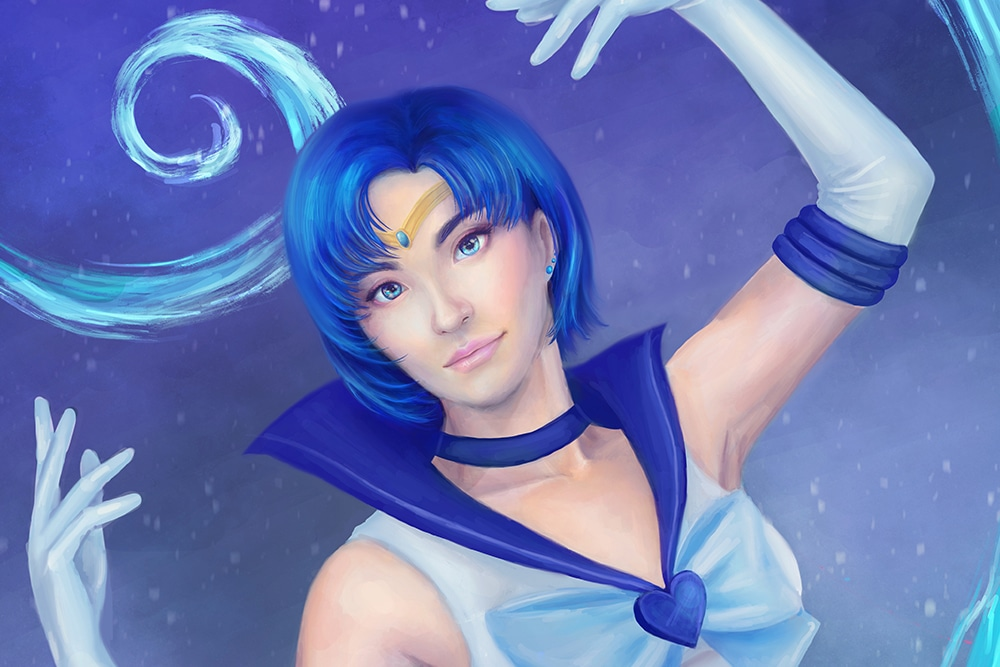 Sailor Mercury Pretty Guardian Sailor Moon, Artwork by Colour Me Ren